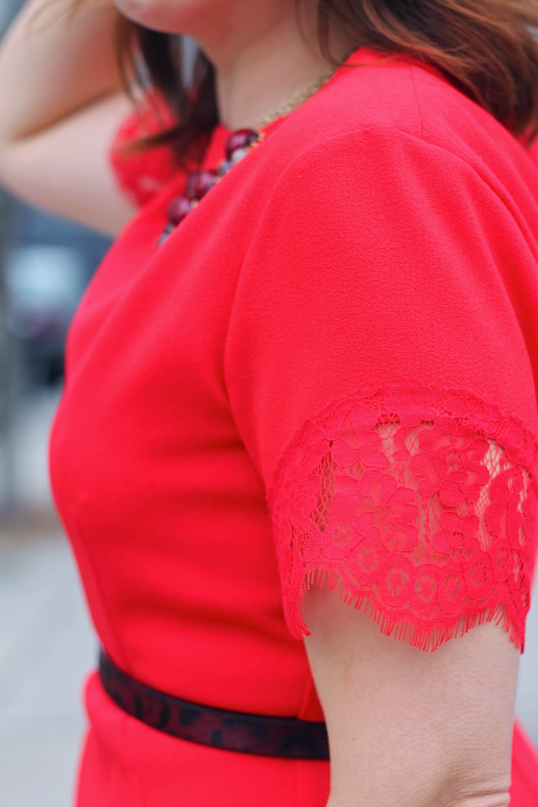 red, lace, dress, h&m