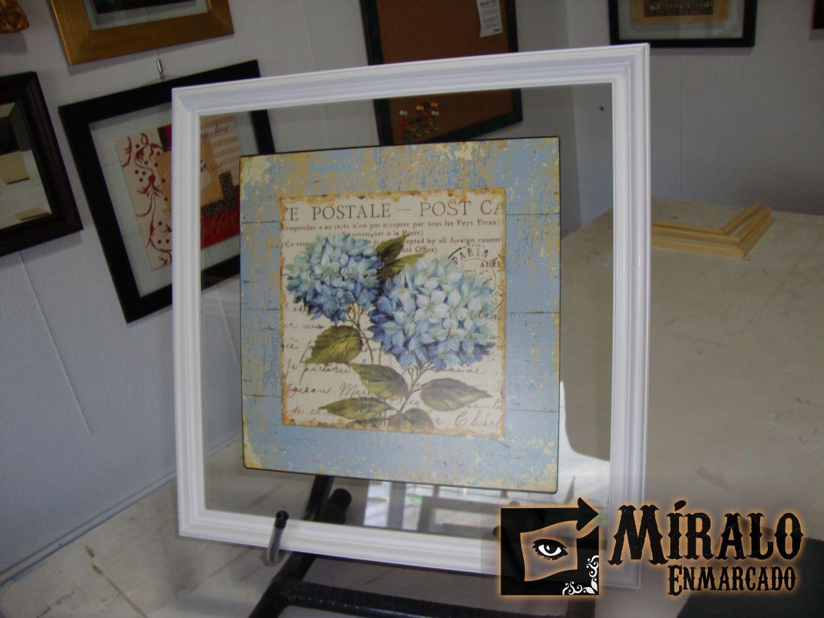Enmarcado de chapa decorativa sobre vidrio for Marcos vidrio para cuadros