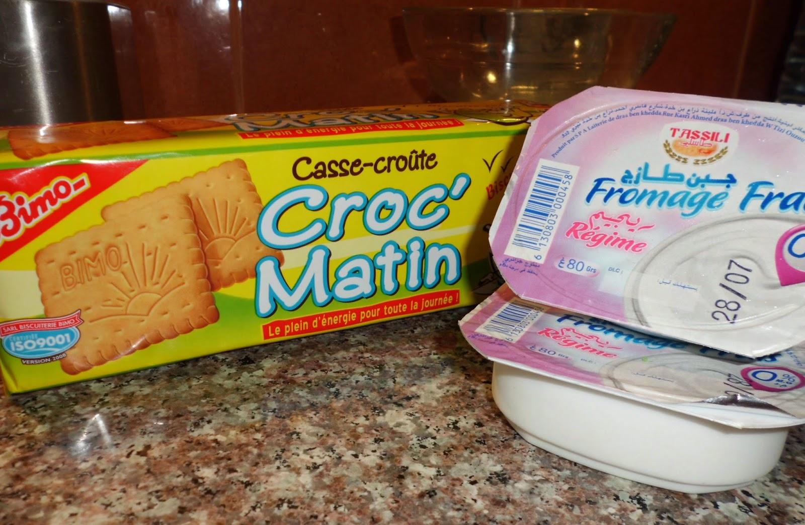 Voici le biscuit de chez Bimo, et le fromage frais Tassili.