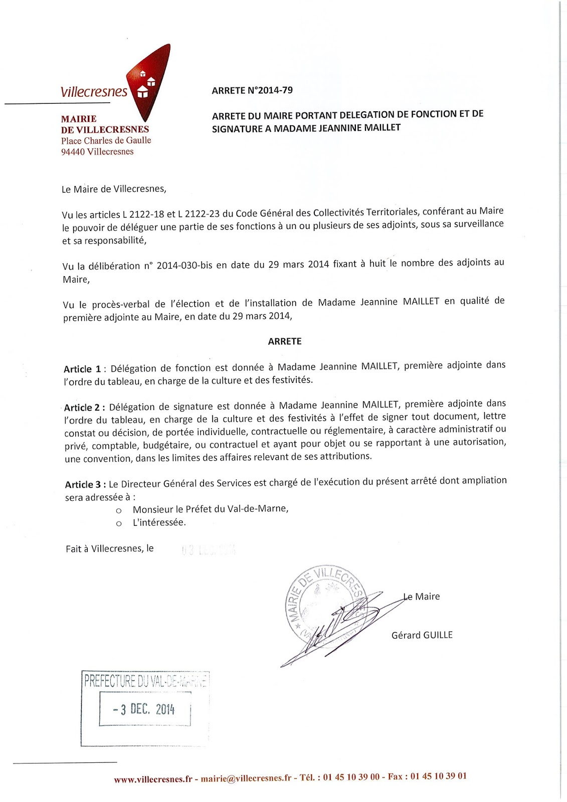 2014-079 Délégation de fonction et de signature à Madame Jeannine Maillet