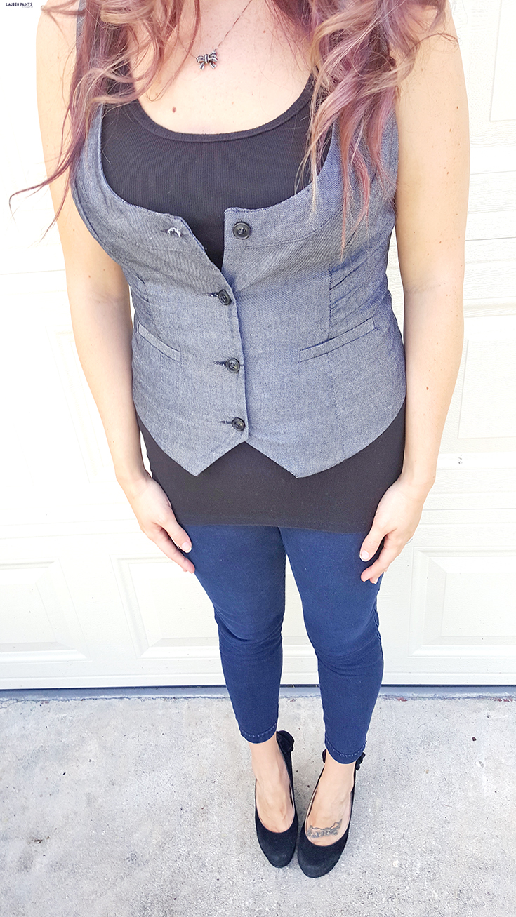 Yeah, it's pretty clear I'm not a size 2, nor am I Meghan Trainor... so I'm not all about that Bass today and I will not be singing; but I am all about this vest....