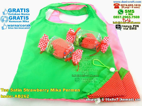 Tas Satin Strawberry Mika Permen