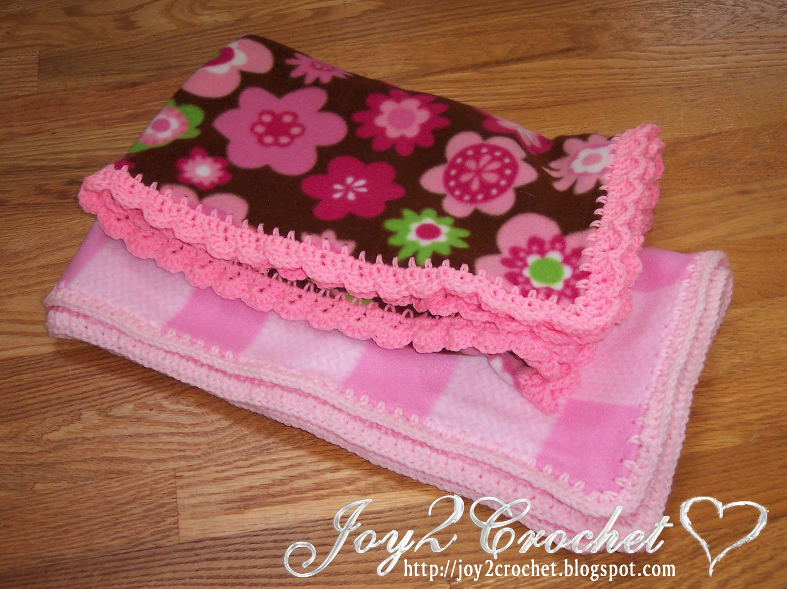 Crochet Patterns For Baby Blanket Edges : Joy 2 Crochet: Fleece Baby Blankets with Crocheted Edge