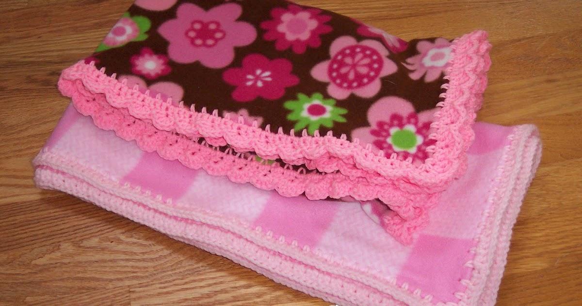 Joy 2 Crochet Fleece Baby Blankets With Crocheted Edge