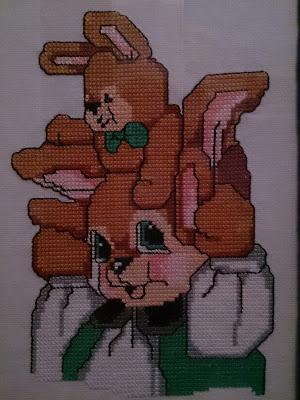 cuadro conejos punto de cruz