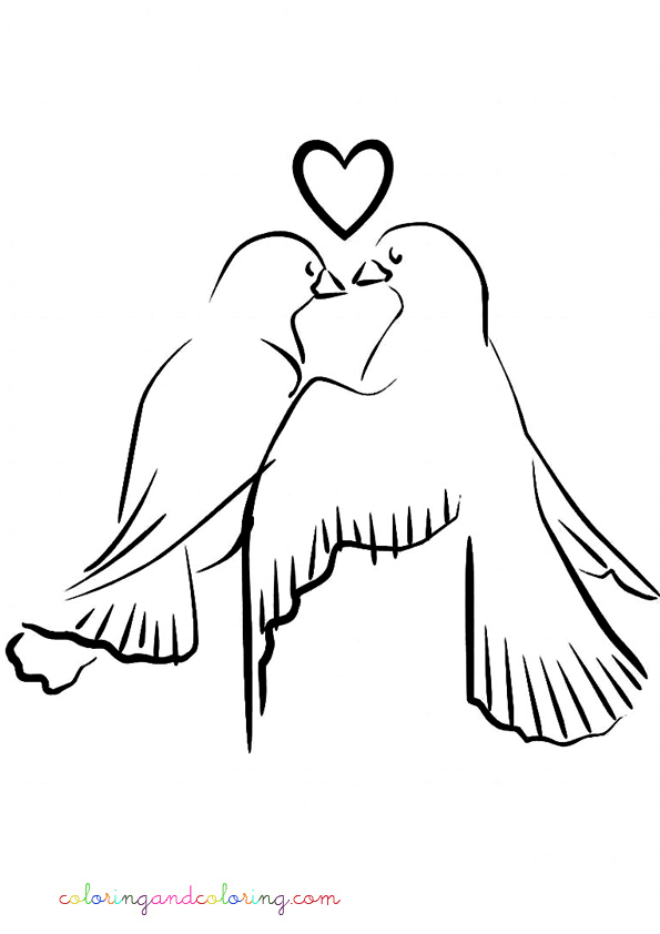 coloring pictures doves in love