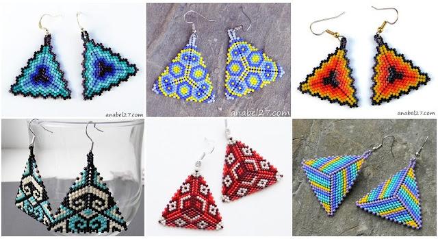 Плетем серьги-треугольники из японского бисера: публикации и