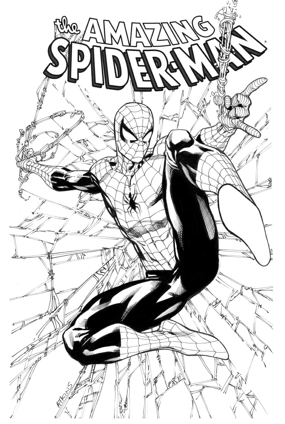 Comic Book Cover Black And White : Robert atkins art avengers april spiderman kind of