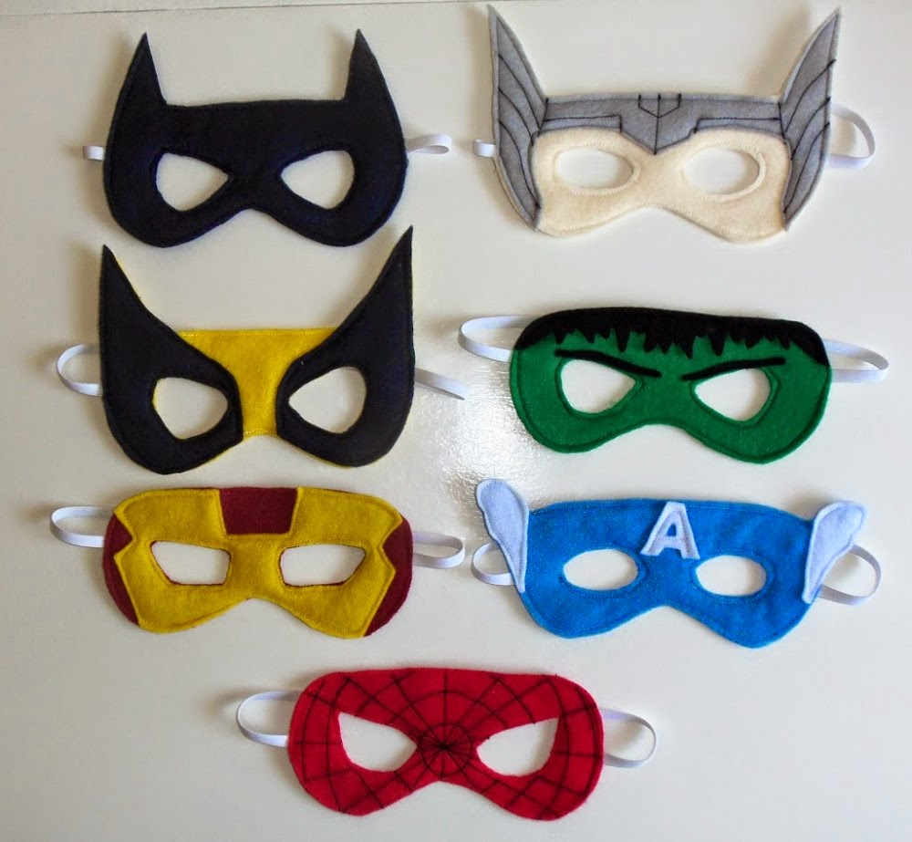 http://cutesycrafts.com/2012/07/superhero-party-masks.html