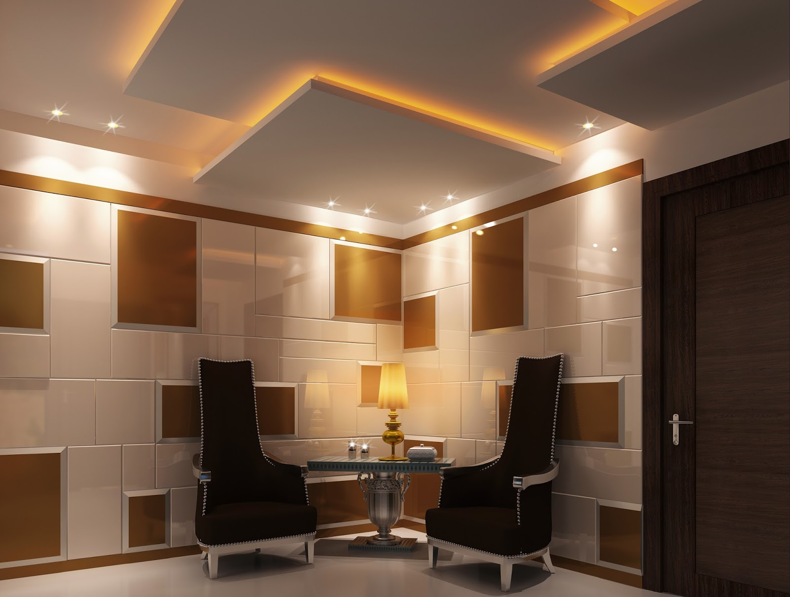 Foyer Architecture S : D visualization classical bedroom and entrance foyer design