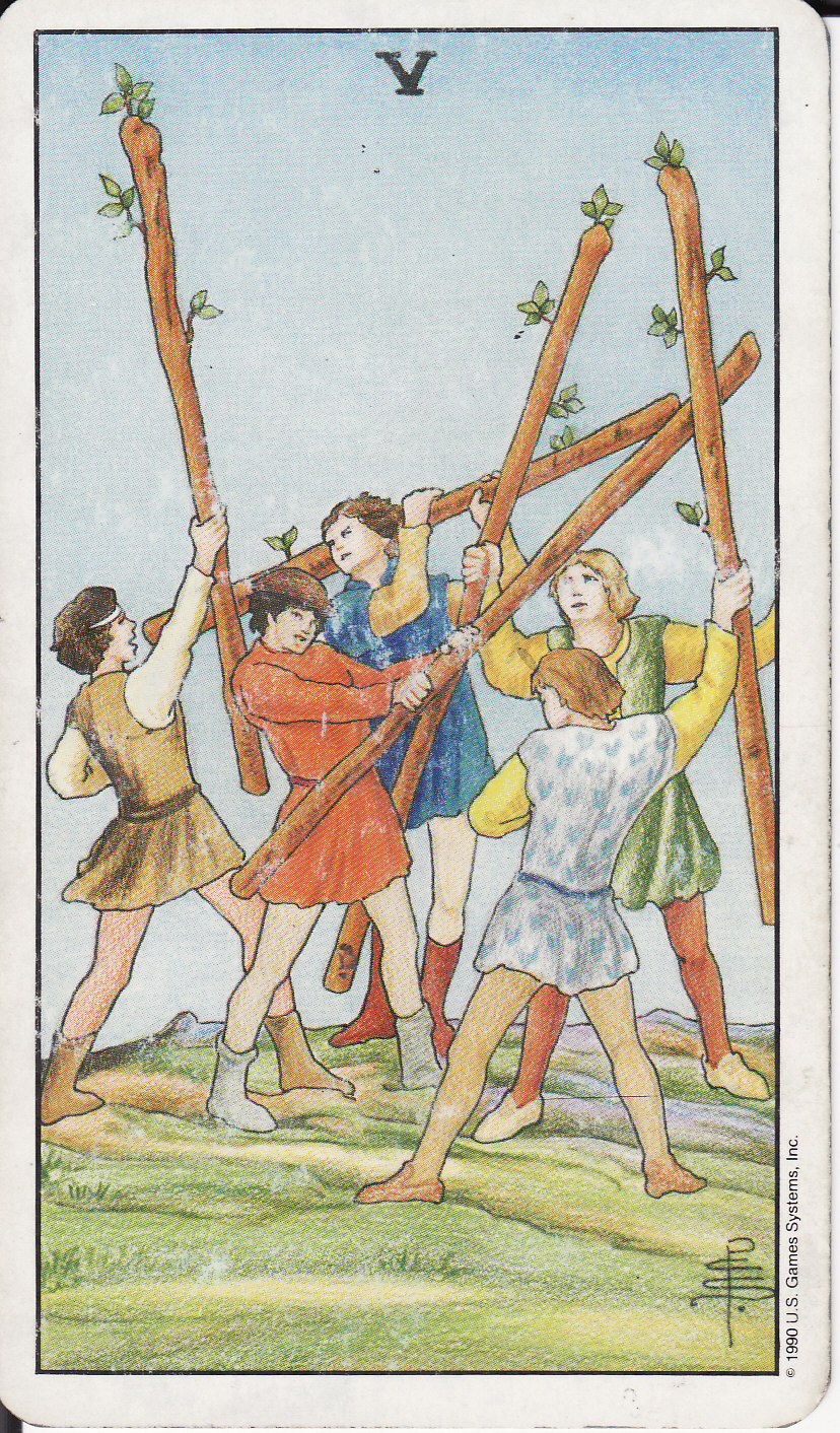 tarot the royal road 5 five of wands v