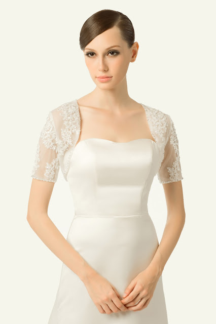 Short-sleeve lace wedding jacket