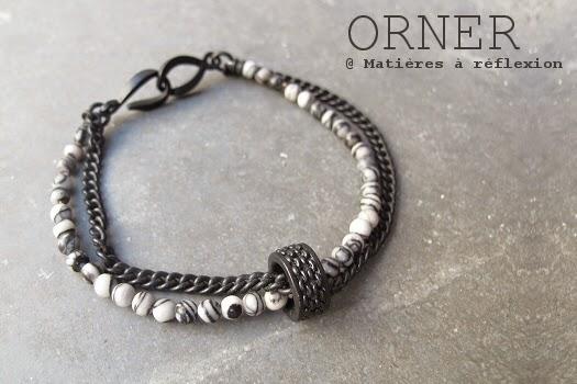 Bracelet unisex noir et agates Orner Paris