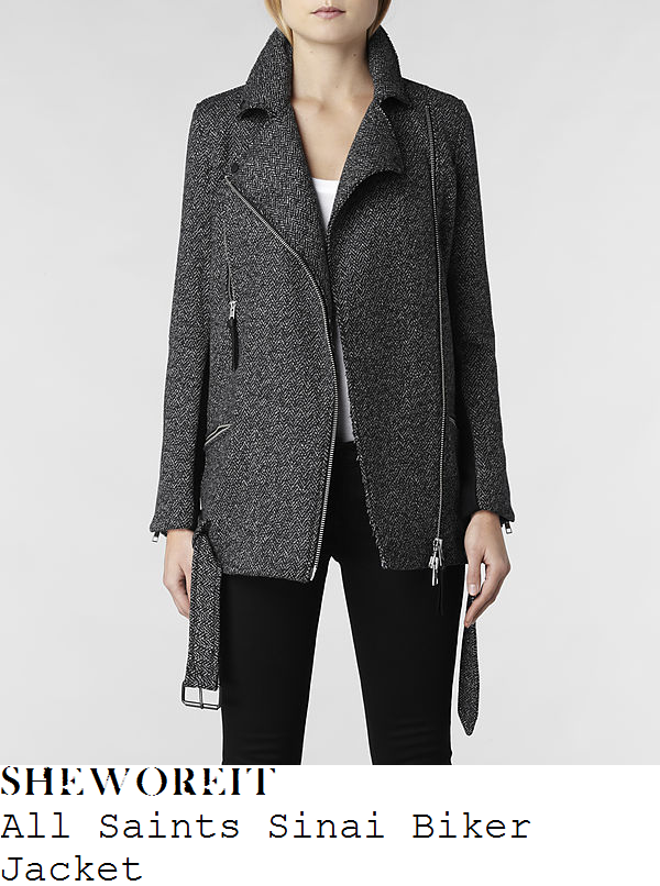 nicole-scherzinger-grey-and-white-speckled-tweed-biker-jacket-coat
