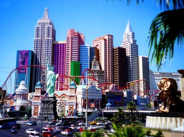 Las Vegas Skyline New York New York with tilt shift effect
