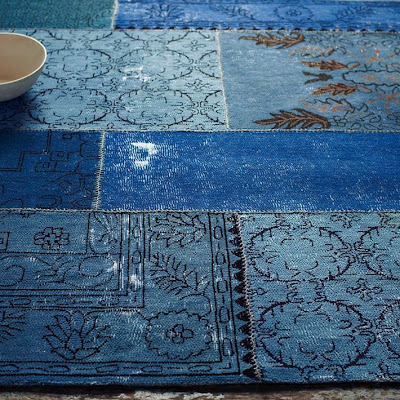 eclectic rug, blue, woven