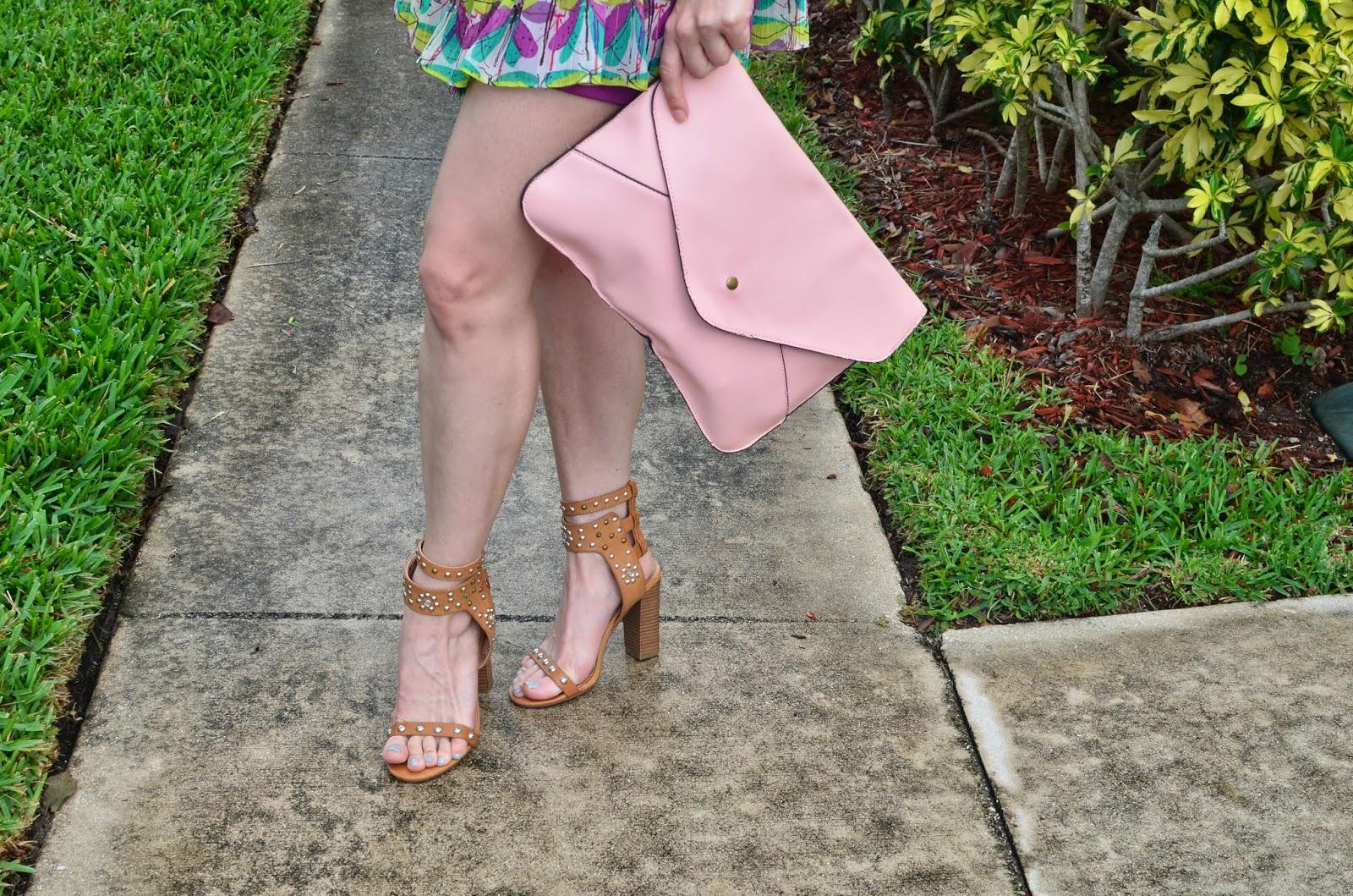 Studded sandals - pink clutch