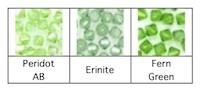 Peridot, Erinite and Fern Green Swarovski crystals