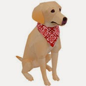 Labrador Retriever Dog Papercraft (Yellow)