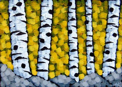 Gold Sky, Birch Trees, Acrylic landscape painting, aaron kloss, duluth mn