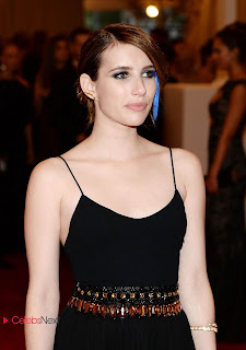 Emma Roberts Pictures in Black Long Dress at 2013 Met Gala in New York  0001