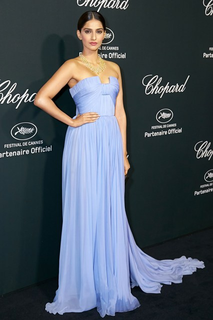 Sonam Kapoor in a light blue Elie Saab Couture dress at Cannes 2014