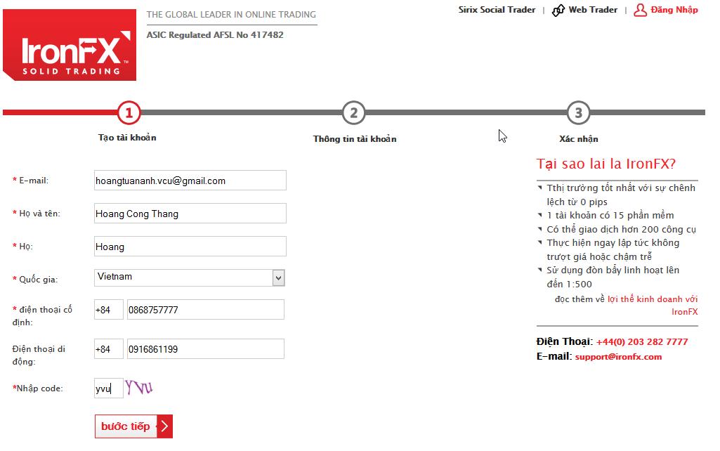 Điền thông tin đăng ký tạo tài khoản IronFX