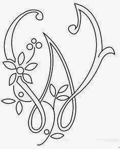 W flower calligraphy monogram tattoo stencils