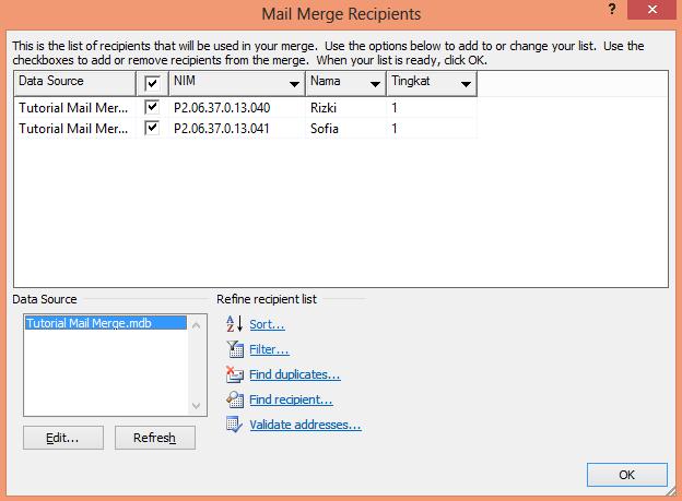 Sofia Rizki: Cara Membuat Mail Merge di MS Word 2010 dan