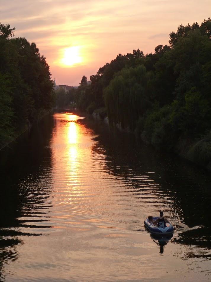 Sonnenuntergang, Boot, Landwehrkanal