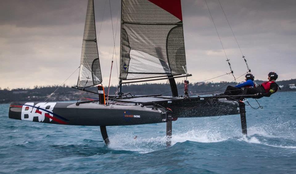AC35. BAR foiling the N20 @Bermuda   Catamaran Racing ...