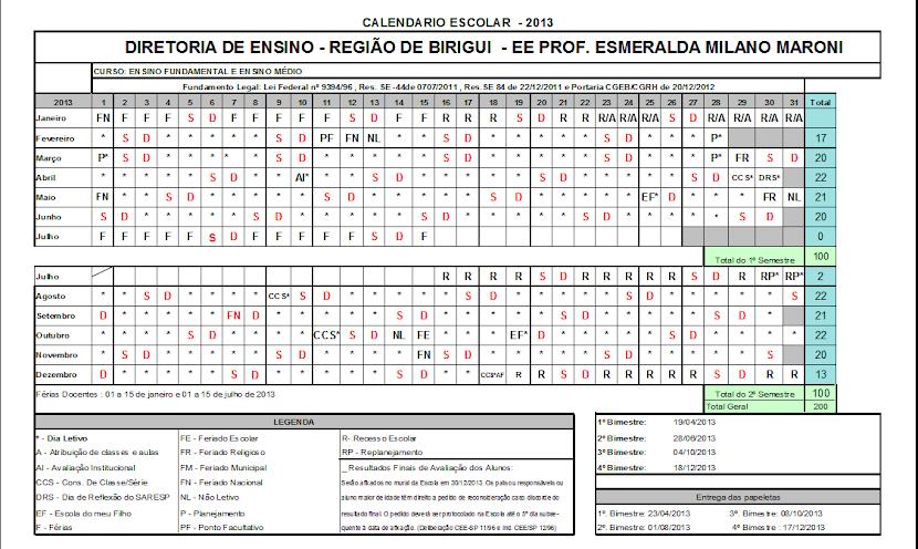 Calendário Escolar 2013 !