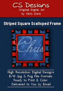 Square Scalloped Frame digital stamp