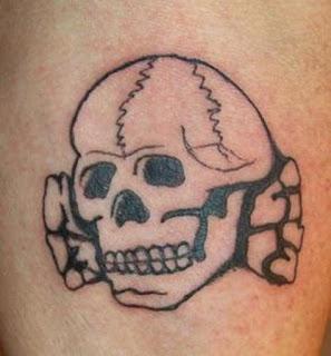 a Totenkopf tattoo - a symbol of the Neo-Nazi movement