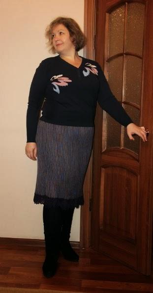 шерстяная зимняя юбка для полных