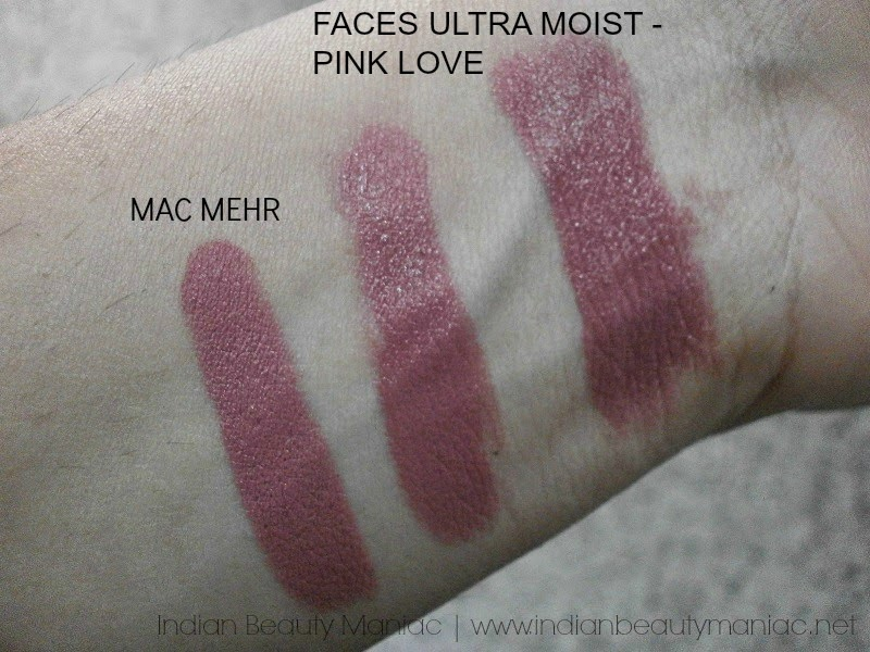 FACES Ultra Moist Lipstick in shade 42 Pink Love and MAC Mehr Swatch