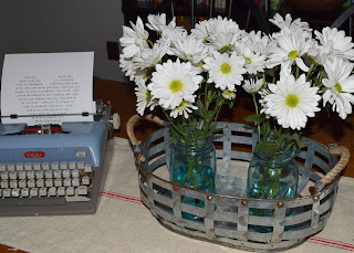 "alt=""metal basket blue ball jars daisies"""