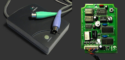 [Image: On the left, a gray box with the Logitech logo, a button labeled 'CONNECT', and a wire coming out of it, ending in two PS/2 connectors. On the right, the box opened and its PCB revealed. On the PCB there are three metal-colored crystals (16.4200 0014TC, 10.1700 0011TC3, 10.2700 HELE), two bulky components labeled LT455EW, and three microchips with Motorola logos. An array of wires goes out.]