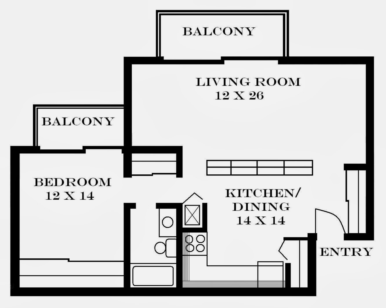 Apartment layouts architecture world for One bedroom flat floor plan