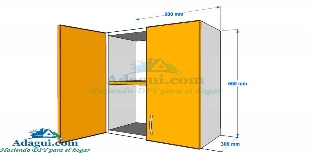 Plano y dise o con medidas mueble alto de cocina melamina for Muebles de cocina planos pdf