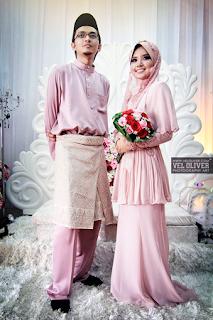 baju persandingan dusty pink chiffon cute