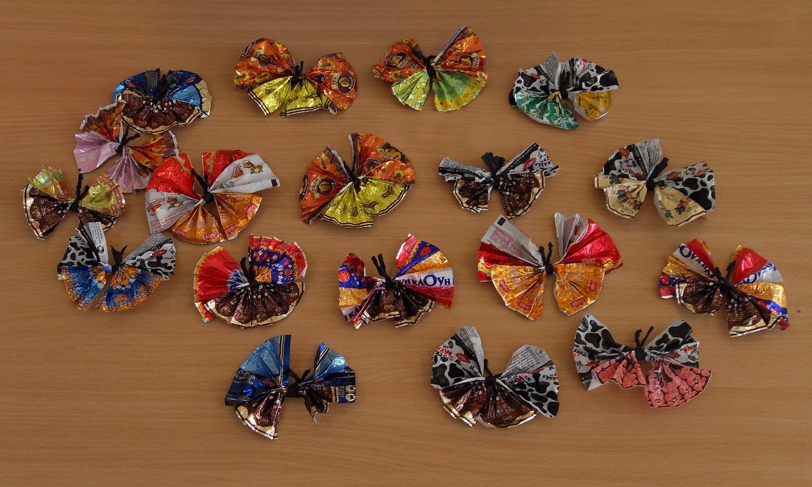Как сделать бабочку своими руками из фантиков