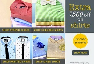 Basicslife Weekend Offer: Get Rs.500 Extra Off on Men's Shirts + Extra Rs.100 Cashback in Paytm Account