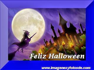 Feliz Halloween con Bruja y Castillo