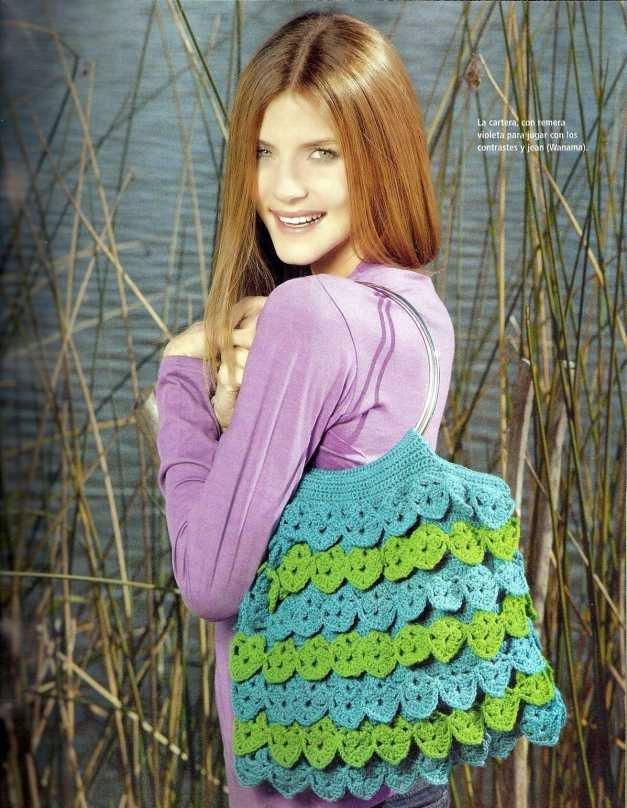 Bolso con volados a Crochet