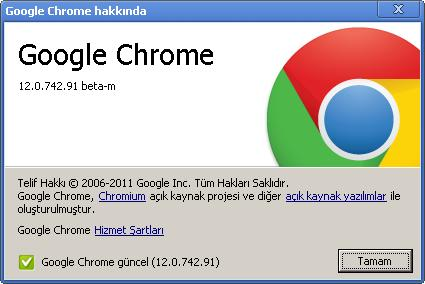 Google chrome 12.0.742.91