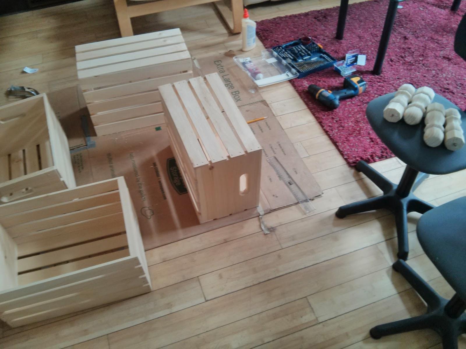 Mixed Media DIY Repurposed Wine Crates Coffee Table