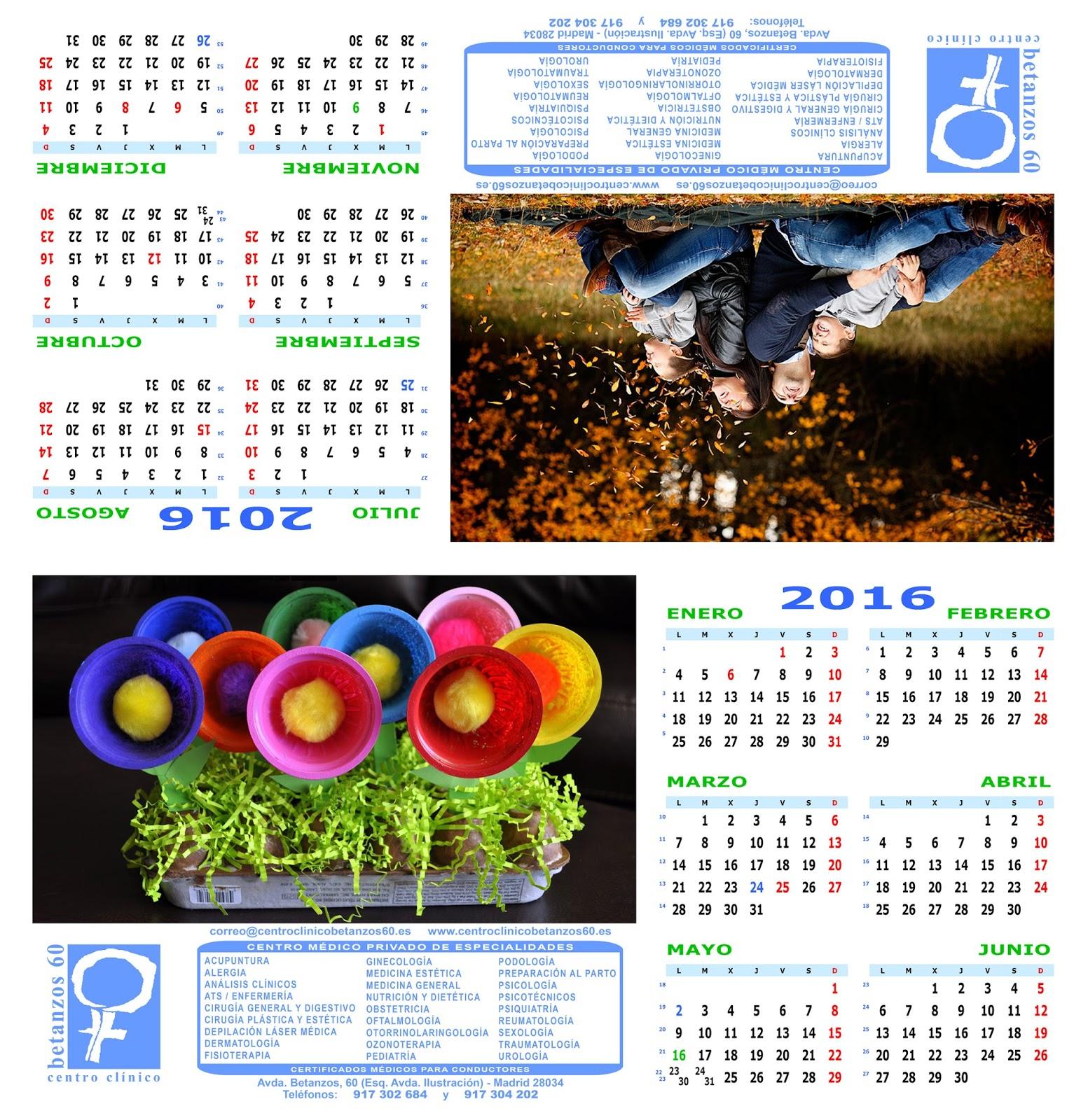 Diseño del calendario especial de 2016 de sobremesa