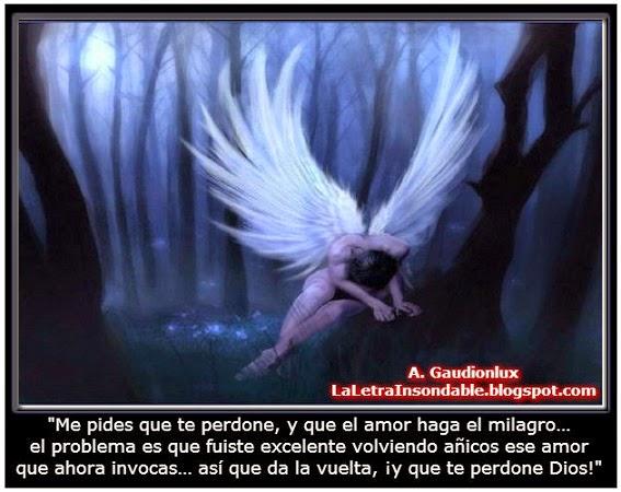 Imagen de ángel solo y triste en un bosque obscuro, con frase.