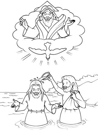 CuentosDeDonCoco.Com: DIBUJO DEL BAUTISMO DE JESÚS PARA COLOREAR